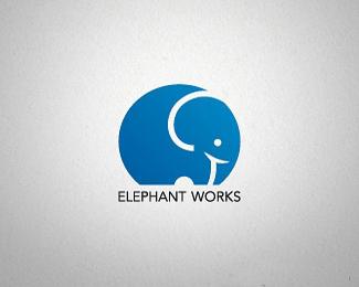 可爱的卡通大象标志