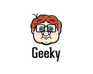 卡通头像Geeky标志
