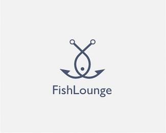 FishLounge鱼钩图标标志设计