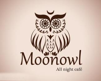 24小时营业咖啡店Moonowl猫头鹰标志